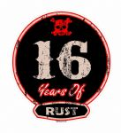 Distressed Aged 16 Years Of Rust Motif For Retro Rat Look VW etc. External Vinyl Car Sticker 100x90mm